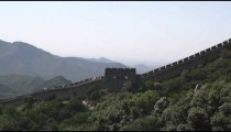 Panning the Great Wall of China with touris at Badaling near Bejing, China.