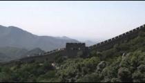 Panning the Great Wall of China with touris at Badaling near Bejing, China.