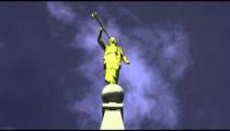 Golden Angel Moroni statue atop Mormon temple in Salt Lake City
