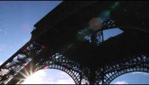 Sun from under the Eiffel Tower.