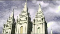 Angled tilt up the face of Mormon temple