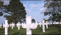 Panning shot across the American cemetery in Norman France.