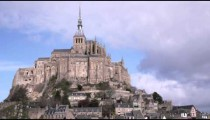 Bright shot of Mont Saint Michel castle and monastery.