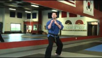 Male martial artist doing a spin kick in studio