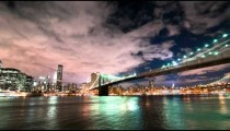 Brooklyn Bridge and the New York City skyline time lapse.