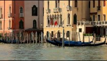 Gondolas and houses in Venice