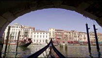 View of buildings across the Grand Canal from a gondola