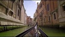 Slow motion bow shot of a moving gondola