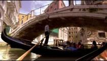 Gondola passes beneath pedestrian bridge