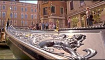 Gondolas glide by in slow motion