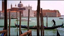 Slow motion shot of Grand Canal and the Church of San Giorgio Maggiore