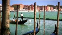 Slow motion shot of gondola leaving docking area