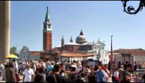 Slow motion shot of crowds near the Piazza San Marco entrance