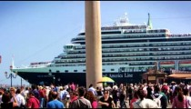 Cruise ship pulls by entrance to Piazza San Marco in slow motion