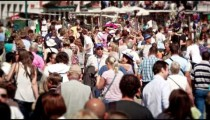 Slow motion shot of crowds in Venice
