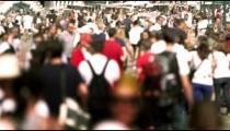 Slow motion scene of bustling pedestrian walkway