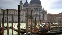 Busy gondolier docks near Santa Maria della Salute