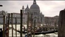 Time-lapse, tilt shot of gondola dock