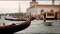 Gondola close-up with rack focus on a Venetian channel
