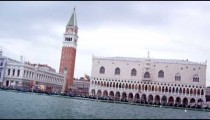 Tracking shot of the Piazza San Marco in Venice from water bus.