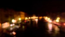 Out of focus shot of Grand Canal at night