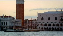 Static shot of Piazza San Marco and the Doge's palace from San Giorgio.