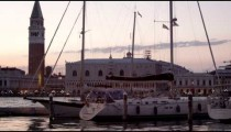 Panning shot of Piazza San Marco from the marina at San Giorgio.