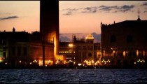 Static shot of Piazza San Marco and the canal racking into focus.