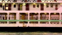 Static shot of a ferry going by Piazza San Marco in the canal.