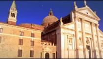 Slow motion, tilt shot of the Church of San Giorgio Maggiore.