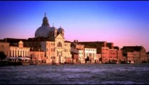 Beautiful, slow motion shot of the Bauer Palladio Hotel during the evening in Venice, Italy.