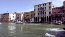 Slow motion shot of motor boats traveling on the Grand Canal