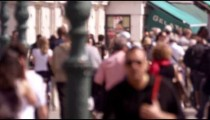 Slow motion shot of crowed walkway in front of the venetian train station