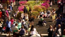 Slow motion still shot of crowded stairs at Trinit
