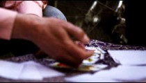 Slow motion close-up motion footage of fortune teller explaining tarot cards