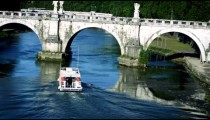 Barge approaches arch of Ponte Sant'Angelo