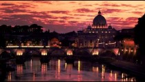 Still footage of Ponte Sant'Angelo and dome of St. Peter's Basilica