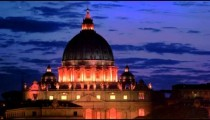 Close up footage of dome of illuminated St. Peter's Basilica