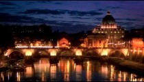 Left-to-right pan of dome of St. Peter's Basilica and Ponte Sant'Angelo. EDITED.