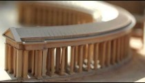 Racking close up of miniature model of an ancient Roman structure