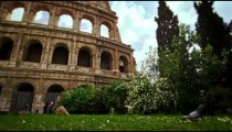 The Colosseum in Rome Italy with Pigeon in foreground