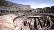 Panning shot of a sunny Roman Colosseum