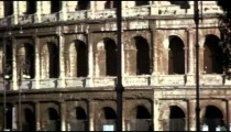 Close up pan of the Roman Colosseum exterior