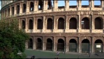 Slow motion pan of Colosseum to Arch of Constantine
