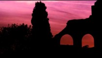 Arches of Constantine's basilica at dusk