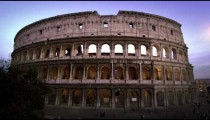 Still footage of Colosseum and Constantine's Arch at dusk