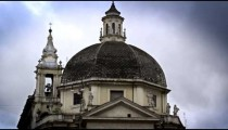 Exterior shot of domed building in the Piazza del Popolo.