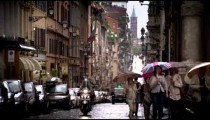 A drizzling day in a Roman street