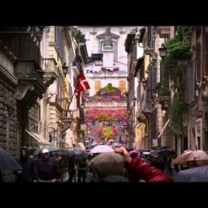 Crowded Via Dei Condotti street in front of Trinita Dei Monti