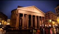 Time-lapse of Pantheon on a rainy night